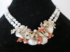 EARLY Unsigned Miriam Haskell Shell Coral White Glass Bead Necklace #Haskell