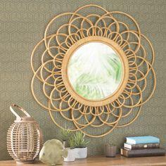 Spiegel met lijst van wilgenteen, geel, diameter 90 cm, VALPARAISO