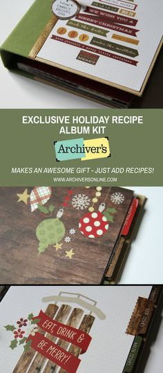 Make a fabulous recipe album with our exclusive kit. Great gift idea or keep it for yourself to hold your favorite holiday recipes. Only available while supplies last!