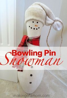 Bowling Pin Snowman Tutorial is a cute and easy way to have a snowman indoors for the Winter. This easy snowman craft only takes a few minutes!
