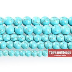"""Free Shipping Blue Turquoise Round  Loose Beads 15"""" Strand 4 6 8 10 12 MM Pick Size For Jewelry Making No.TB1"""