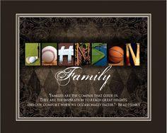 "Personalized ""Sepia Diamonds"" Family 13"" x 16"" Framed Letter Art Print"