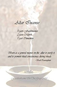 Altar Incense recipe, by Scott Cunningham. Wiccan Witch, Wicca Witchcraft, Magick Spells, Herbal Magic, Kitchen Witchery, Candle Magic, Smudge Sticks, Practical Magic, Book Of Shadows