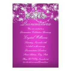 Hot Pink Sparkle Tiara Stars Quinceanera Card