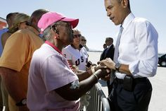 #19 Oct. 2-Obama Lead Over Romney Similar to 2008 Margin Over McCain;    Pablo Martinez Monsivais/AP Photo  President Barack Obama greets supporters on the tarmac upon his arrival at McCarran International airport, on Sept. 30, 2012 in Las Vegas.