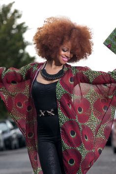 Stunning Tóté African floral print chiffon kimono. At long last African Print is now available in beautiful flowing chiffon. £30 ~African fashion, Ankara, kitenge, African women dresses, African prints, African men's fashion, Nigerian style, Ghanaian fashion ~DKK