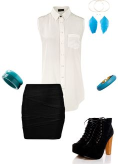 Night Out Outfit by megukuma on Polyvore  Simple clothes accented with colored jewlery