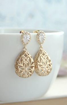 Gold Puffy Filigree Cubic Zirconia Ear Post Earrings. Wedding Jewelry, Bridal Earring. Bridesmaid Gift. Gold Filigree Teardrop Boho Wedding.