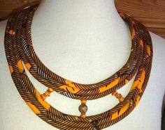 African Fabric Multi Cord Necklace - Fiber Jewelry by Painted Threads