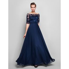 Sheath/Column Off-the-shoulder Floor-length Chiffon And Tulle Evening Dress