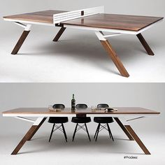This ping pong table slash dining table is incredible. I play pretty hard when I play ping pong I think I would have to be careful playing on this table. #furnituredesign #beautiful #design #tabletennis The table is designed and built by @thewoolsey. Photo credit to @prodeez