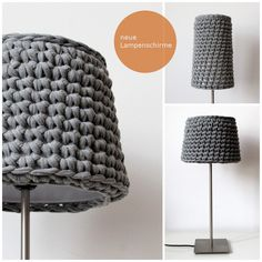 gehäkelte Lampenschirme - crocheted lamp shades ... Would this catch on fire? Because I would LOVE to change that awful green shade in the bathroom.