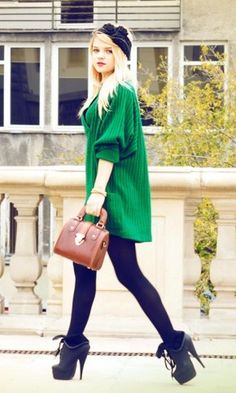 #Casual Chic#Fall Style# Oversized kelly green sweater, tights & booties