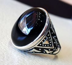 black onyx agate aqeeq sterling silver 925 by AbuMariamJewels