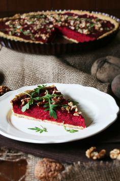 koláč s červenou řepou a riccotou