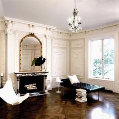 I love this small sitting room. I love to have smaller rooms for personal conversations. They feel so cozy, but the high ceilings make it glamorous. This room is perfect for lounging. I love this entire design.