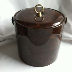 Georges Briard MCM Ice Bucket Tortoise Brown Vinyl 3QT Lucite Made in USA