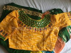 Work on ikat fabric Best Blouse Designs, Bridal Blouse Designs, Saree Blouse Designs, Blouse Styles, Mirror Work Saree Blouse, Mirror Work Blouse Design, Latest Maggam Work Blouses, Designer Blouse Patterns, Dress Patterns