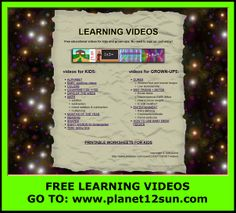 Free videos + free worksheets.  Go to:  www.planet12sun.com 1st Grade Spelling, 1st Grade Math, Free Printable Worksheets, Free Printables, Telling Time In English, Detox Week, Soothing Baby, Easy Video, Educational Videos