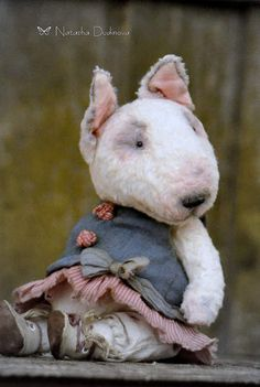 Lola By Natasha Dudinova - Little Bull Terrier Lola - sweet and very kind. It is made of German viscose It is filled with sawdust anddifferentgranules. The head, arms and legs can rotate. It has 5-splint fastening.Itcan take a variety ofposes.German glass eyes.OOAKIt can notstand ...