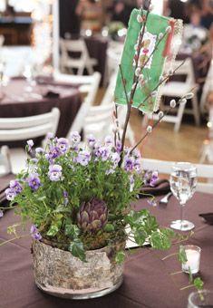 Rustic Centerpiece with Handkerchief | Wedding Flowers
