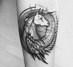 """""""Light as a feather, stiff as a board."""" This phrase can be used to describe the tattoos of Frank Carrilho, a Brazilian artist who incorporates thin, wispy lines with bold, heavy outlines. #tattoos #unicorn"""