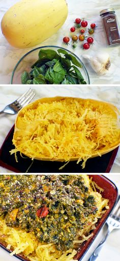 The Starving Chef | Here is a simple vegetarian dish consisting of spaghetti squash and spinach sauce - made from homegrown ingredients right from the Starving Chefs garden.