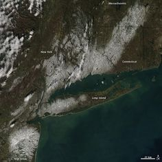 A satellite view of the snow left behind by the nor'easter that followed on the heels of Hurricane Sandy.
