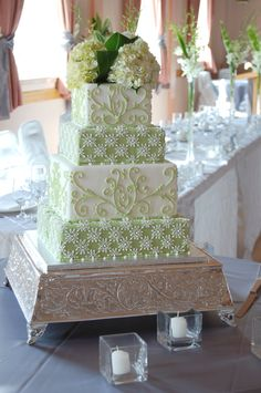 "Green & white square piped wedding cake by CharmPastry - A 6,8,10, 12"" square four-tier wedding cake in an apple/celery green and white color palette.  Inspired by a cake featured in Martha."