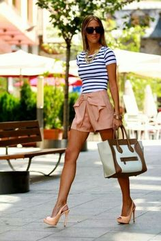 Nude shorts and pumps | striped top | Celine Bag