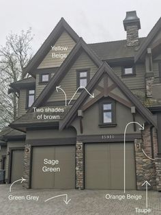 Exterior Consultation with Orange Brick & Stone, Before & After Green Exterior Paints, Green Siding, Best Exterior Paint, Exterior Paint Colors For House, Grey Exterior, Exterior Siding, Cottage Exterior Colors, Rustic Exterior, Siding Colors