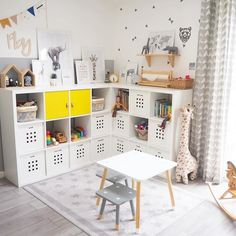 Wonderful 38 Inspiring Girl's Playroom Design Ideas Girls' playroom should be a room in the house where a girl can have fun and enjoy having their own space. Most parents love that they can get their child's toys. Playroom Storage, Kids Room Organization, Playroom Design, Kids Room Design, Ikea Playroom, Ikea Kids Bedroom, Childrens Bedroom Storage, Kids Room Shelves, Baby Room Storage