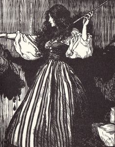 The maiden fetched the magic wand, and then she took her stepsister's head and dropped three drops of blood from it. Illustration by Arthur Rackham for Sweetheart Roland, a fairy tale by the Brothers Grimm.