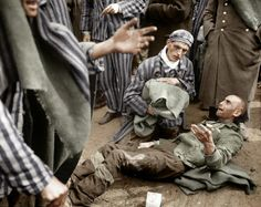 May 4th 1945 German concentration camp at Wöbbelin, many inmates were found by the U.S. Ninth Army in pitiful condition. Here survivors wait to be evacuated from the Wöbbelin concentration camp to receive medical attention at a field hospital.  When the American units arrived, they found about 1,000 inmates dead in the camp. In the aftermath, the U.S. Army ordered the townspeople in Ludwigslust to visit the camp and bury the dead.