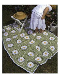 Crochet Pattern Afghan/Blanket/Lap cover Daisy by carolrosa Crochet Granny, Crochet Afghans, Knit Crochet, Crotchet, Crochet Daisy, Crochet Crop Top, Crochet Blankets, Vintage Crochet, Crochet Crafts