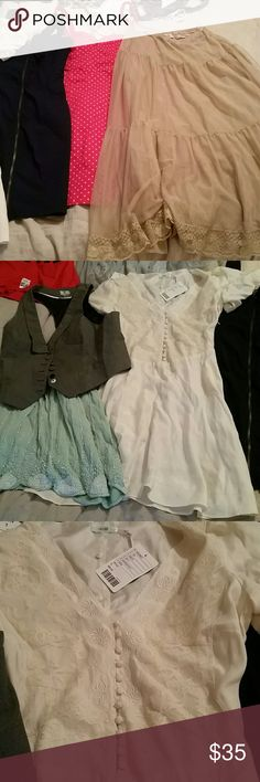 6 piece fp/uo bundle Free people /urban outfitters bundle and more. Vest with different buttons, beaded skirt, 3 uo/hm dresses, and 1 free people sheer skirt. Shirt missing lining, and white dress missing sleeve buttons, has sm mark on bottom, but is new. Others are great/new Trying to clear space, won't split up bundle. Cannot be bundled with anything else.  NO TRADES THANKS!  PRICE FIRM, thanks! free people Skirts