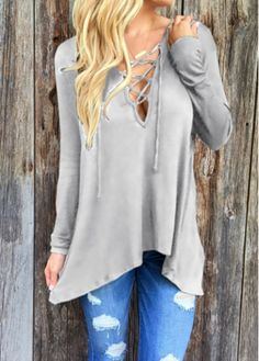 6fbad605c75d5 Long Sleeve Lace Up Grey Hoodie Lace Up T Shirt
