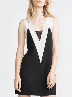 Mini Shift Dress - Unique Vee Design / Black and White