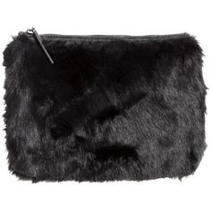 H&M Faux fur clutch bag (€11) ❤ liked on Polyvore featuring bags, handbags, clutches, black, faux fur purse, h&m handbags, faux fur handbags, black purse and h&m purses