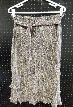 Style & Co Asymmetrical Animal Print Skirt Free Flow Tan Black Size 12   B237 #Styleco #Asymmetrical