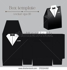 Vector tuxado box template on black color with format Handmade Decorations, Handmade Crafts, Diy And Crafts, Box Template Printable, Templates, Paper Tea Cups, Laser Cut Box, Felt Coasters, Japanese Gifts