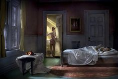"Edward Hopper, ""Pink bedroom (still life at night)"" remake.  Photographer: Richard Tuschman"