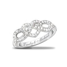 Personalized Lover's Knot Ring With 12 Diamonds. What a cute ring!