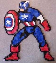 captain america perler beads