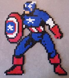 captain america perler beads