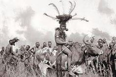 Luo man riding a bull Kenya 1910