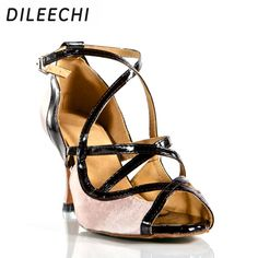 cadec4992bf (Promotion price  25.49) DILEECHI Brand Leopard Satin Charming sexy adult  Latin shoes professional in