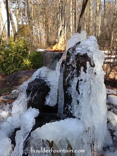 Winter view of our Basalt Fountain of Fire. For more info including videos and pricing visit us at www.boulderfounta...