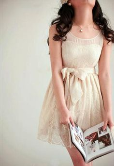 SALE SALE CREAM WHITE LACE BOW BELT TIE DRESS