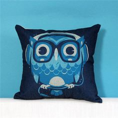Personalized animals linen pillow for couch design octopus and owl